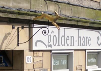 golden hare shopfront sign