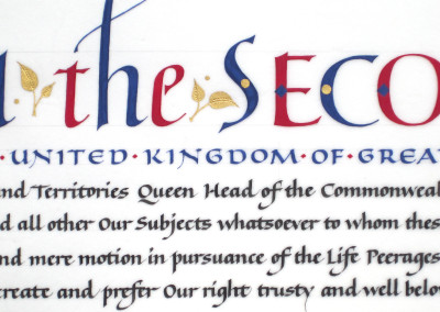Letters Patent for Life Peerage, detail