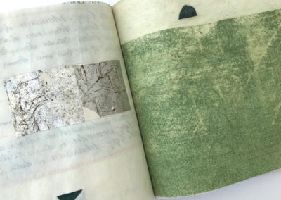 Artist book upcycled 19th century vellum documents, metallic papers, oil, canvas covers, Japanese stab binding