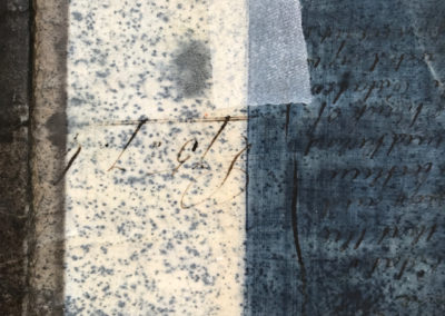 Oil and resist on upcycled 19th-century vellum document